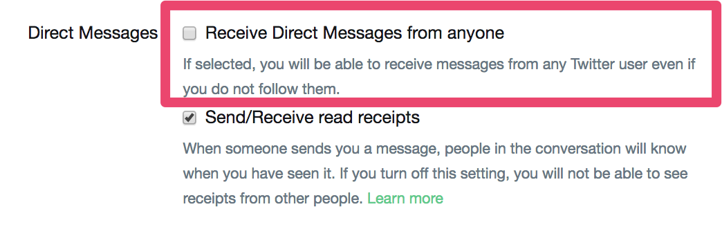 receive direct messages from anyone