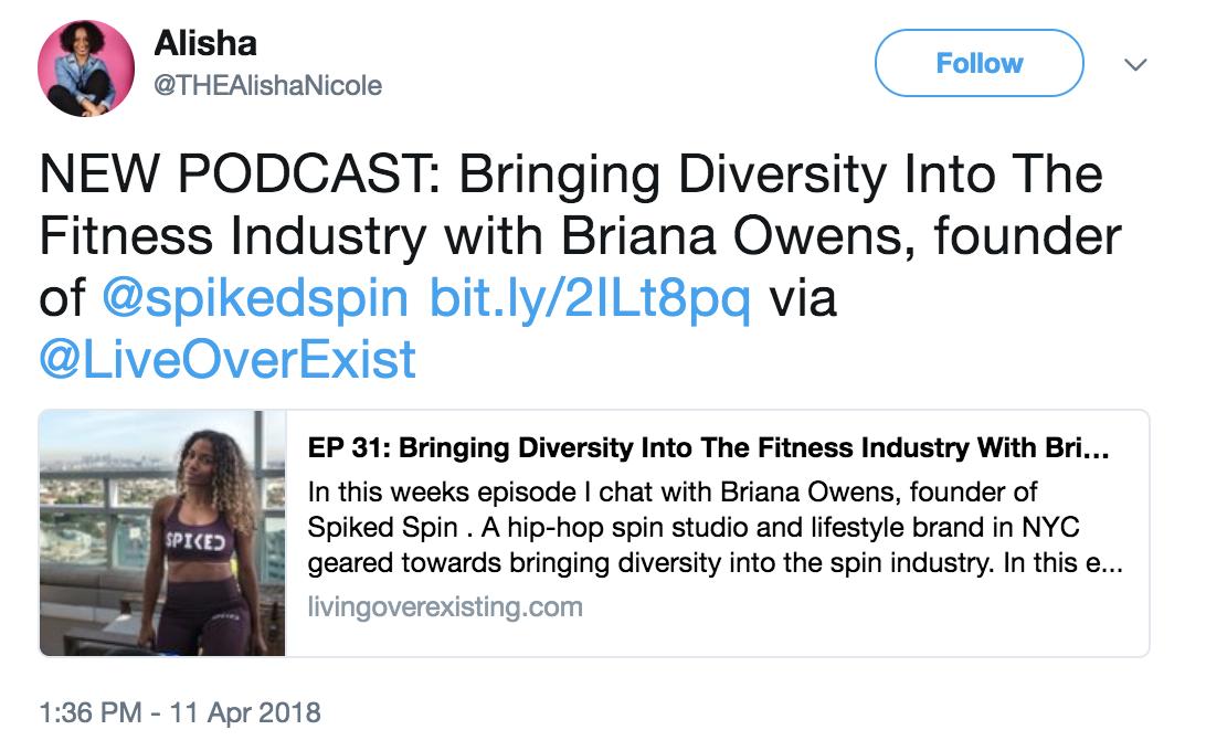 alisha podcast tweet