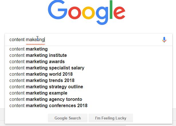 content marketing google autosuggest