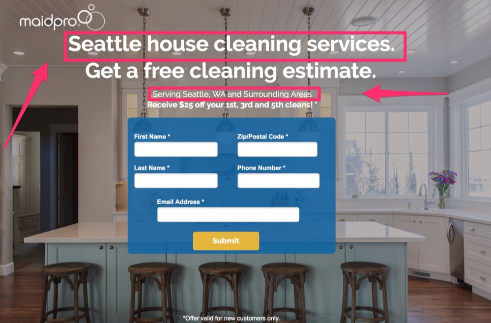 maidpro seattle landing page