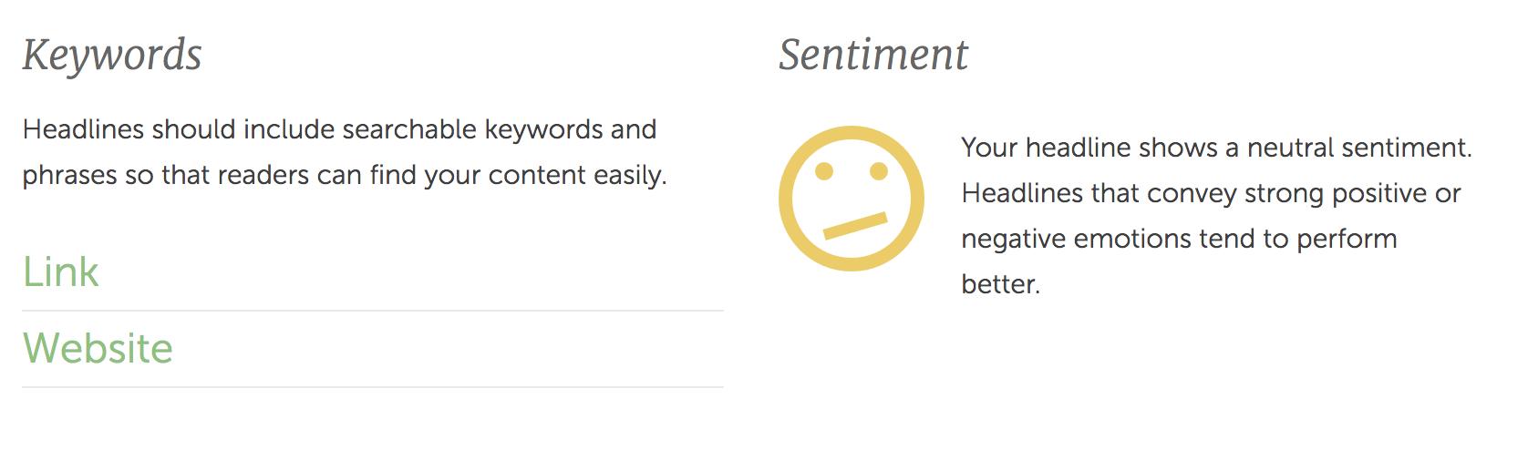 headline keywords and sentiment