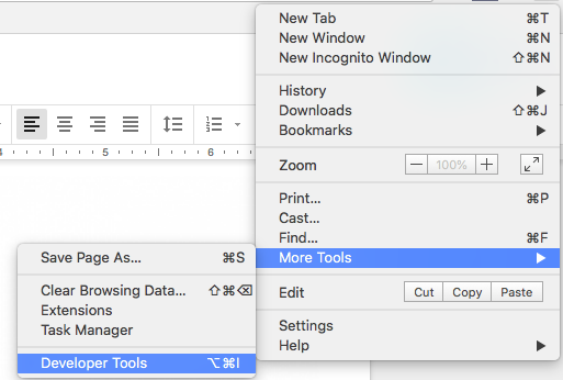 developer tools in chrome