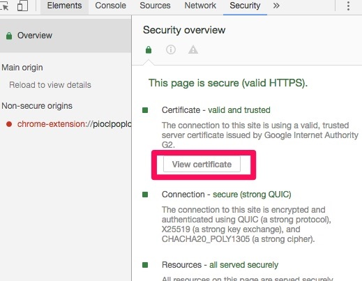 view certificate security overview