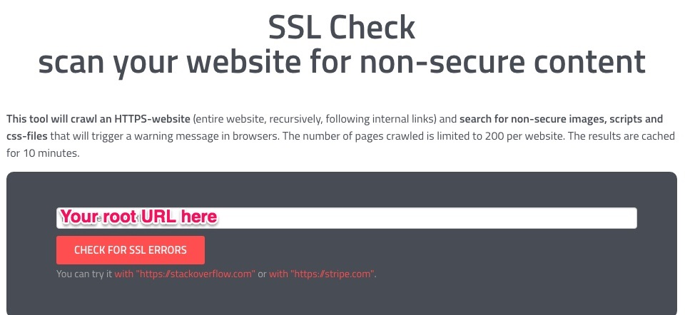 ssl check with root URL