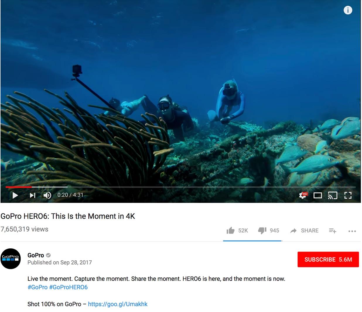GoPro hero6 YouTube video