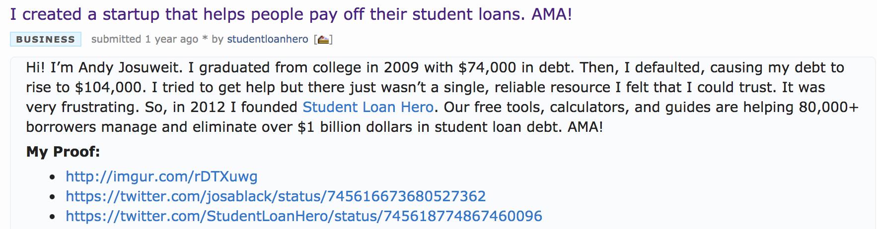 student loan hero reddit AMA one way to get web traffic