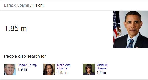 barack obama height google answer