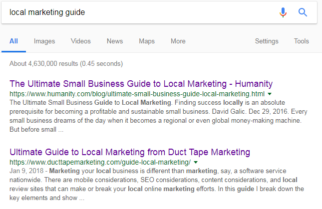 local marketing guide google search