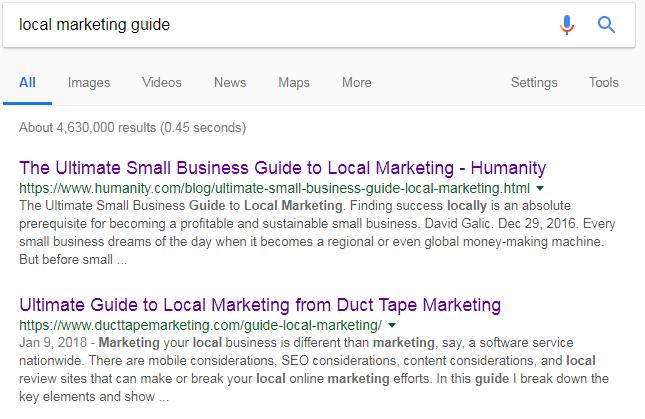 local marketing guide google search
