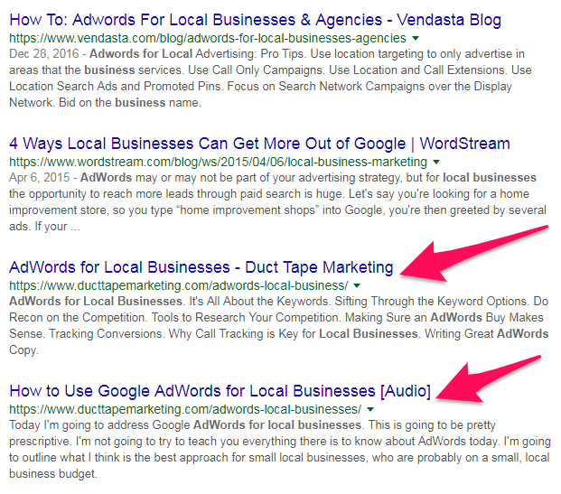 adwords for local businesses google search results