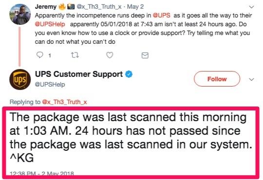 UPS customer support on twitter