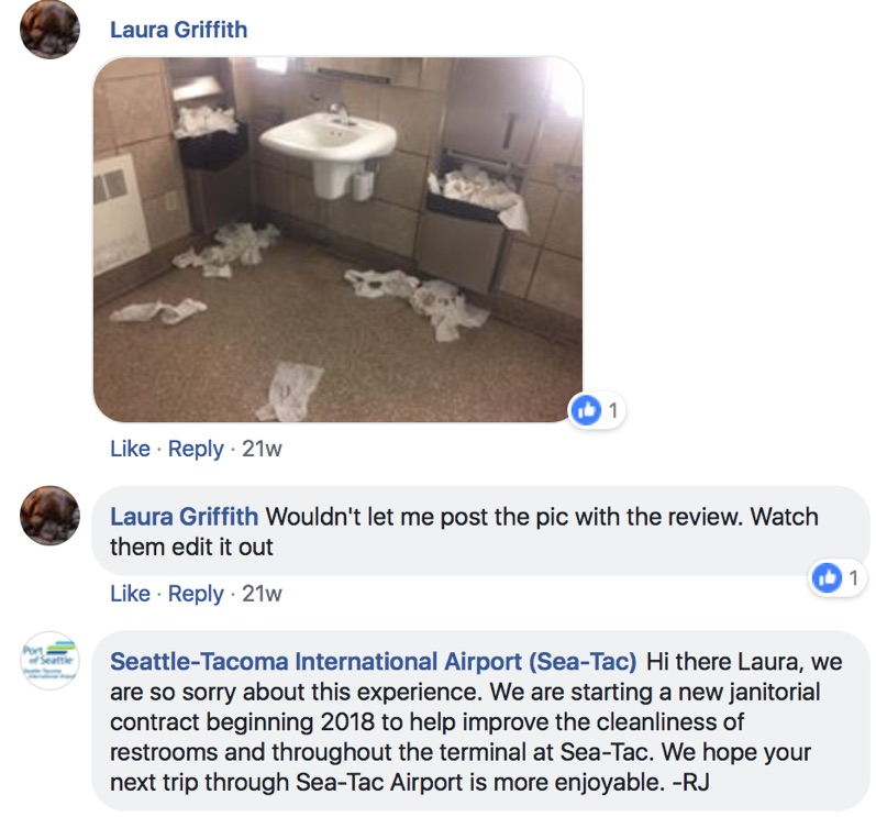 seattle airport facebook apology
