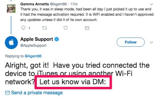 apple support tweet let us know via DM