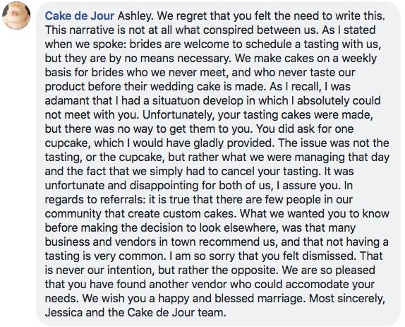 cake de jour facebook post