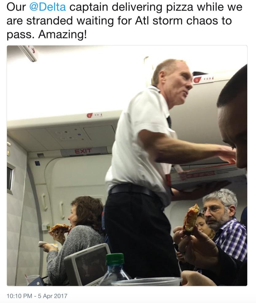delta pilot sharing pizza