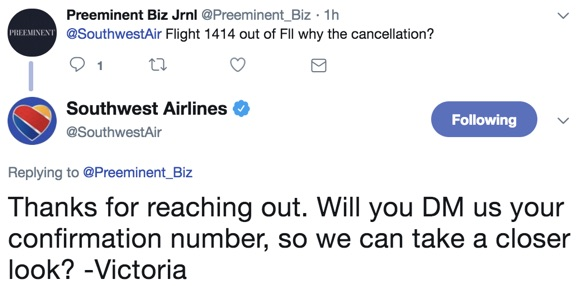 southwest airlines dm us tweet