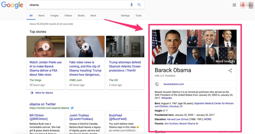 google knowledge graph of barack obama
