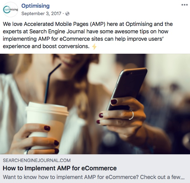 optimising facebook post about AMP