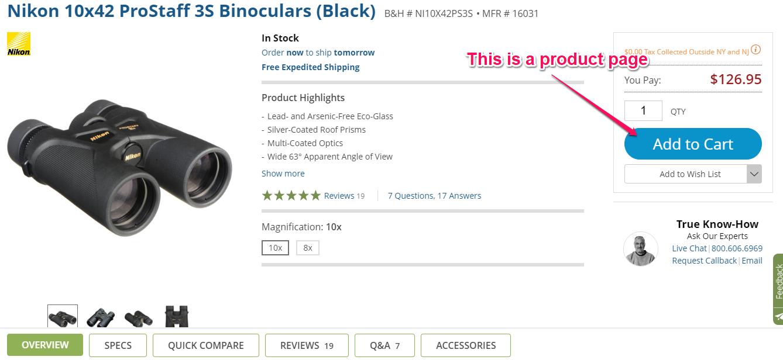 nikon binoculars product page