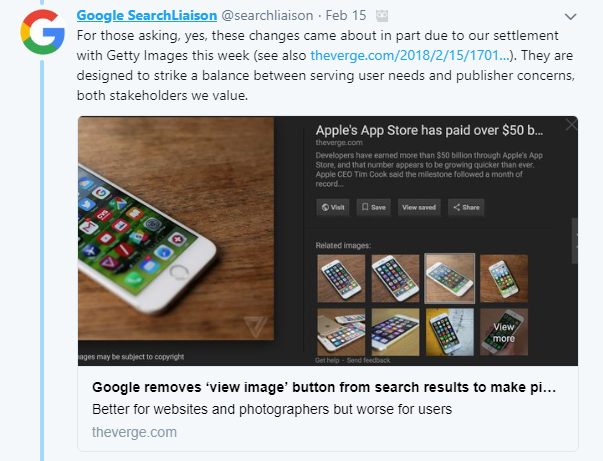 google search liaison google image tweet