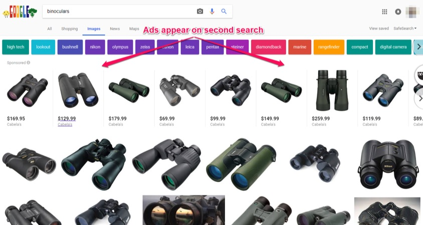 binoculars ads appear on second image search