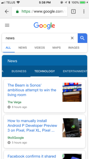 AMP pages on mobile