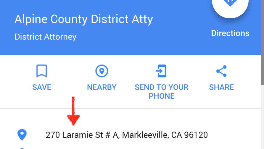 Alpine County DA Wrong Address
