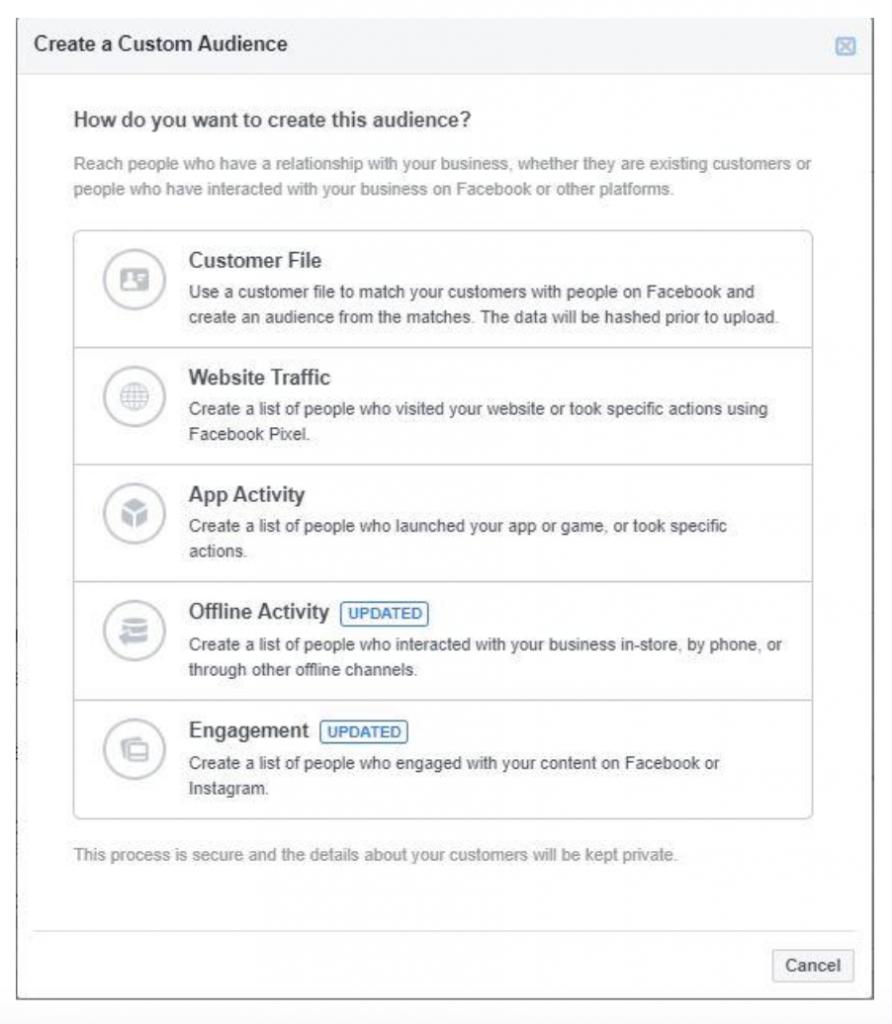 Facebook's Create a Custom Audience Tool