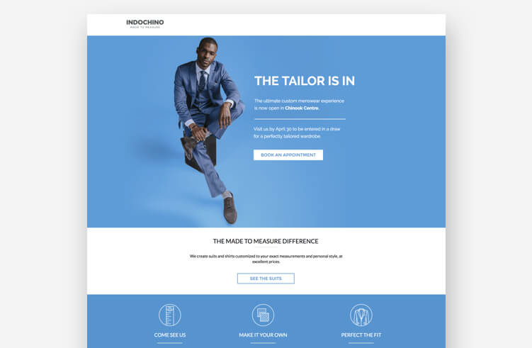 Best Landing Page Design: Indochino