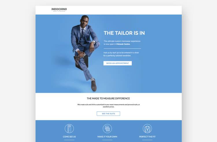 Best Landing Page Design: Indochino