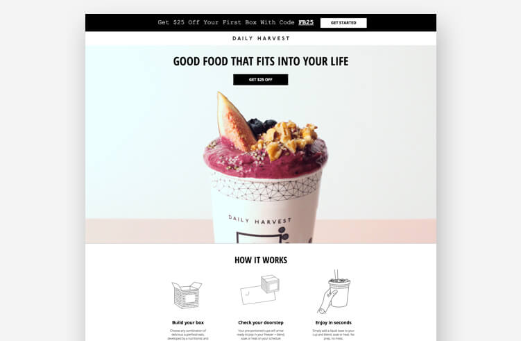 Best Landing Page Design: Daily Harvest