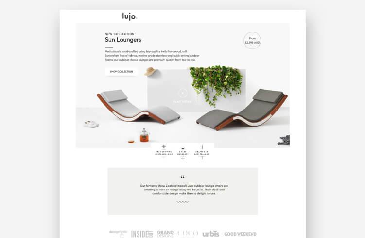 Best Landing Page Design: Lujo
