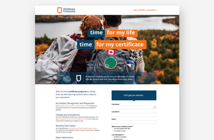 Best landing page examples: Athabasca University
