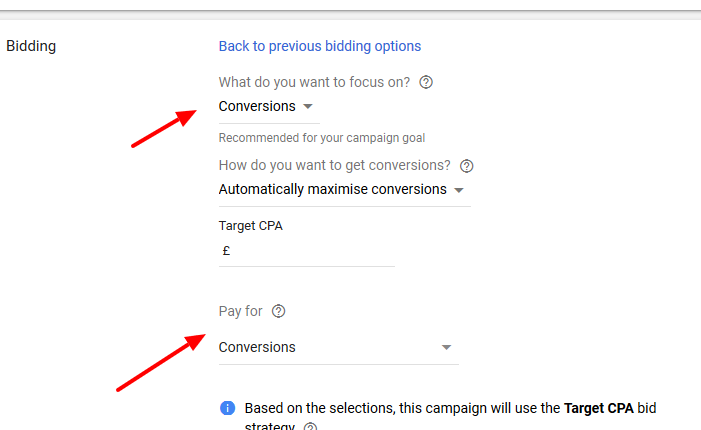 opting for conversion bidding in Google Ads