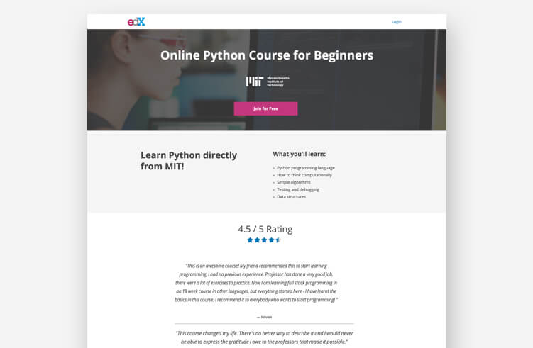 High-Converting Landing Page: edX