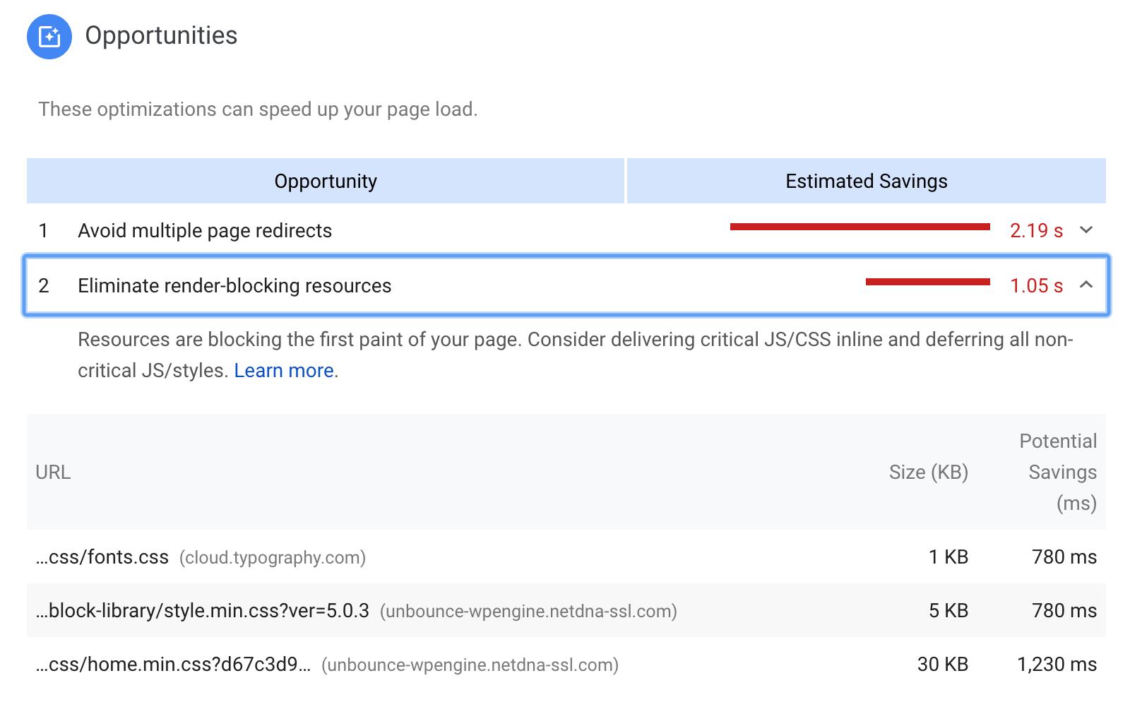 Google PageSpeed Insights - Render-Blocking