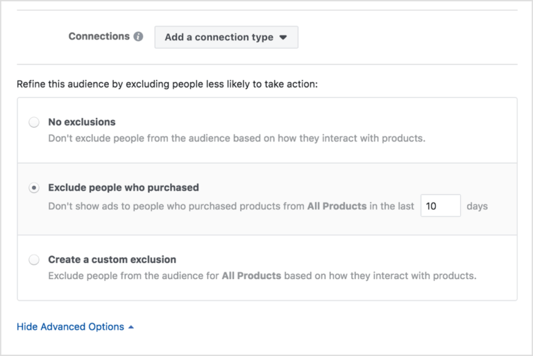 adding a connection type in Facebook dynamic ads