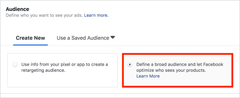 Defining the audience in Facebook dynamic ads