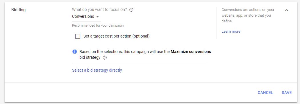 Example of Google Smart Bidding