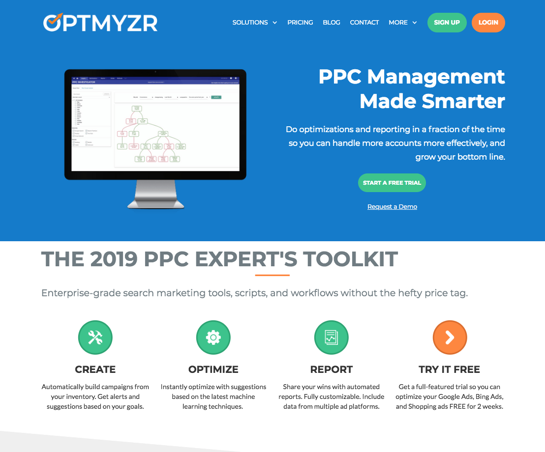 example of Optmyzr for PPC management
