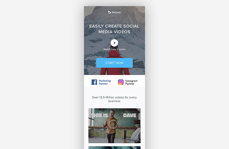 Mobile Landing Page Example: Promo