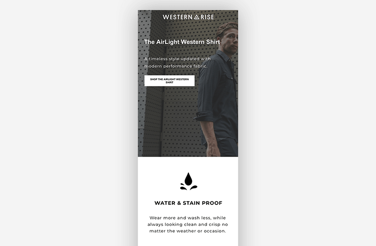 Mobile Landing Page Example: Western Rise