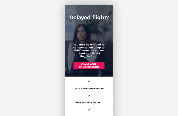 Mobile Landing Page Example: ClaimCompass
