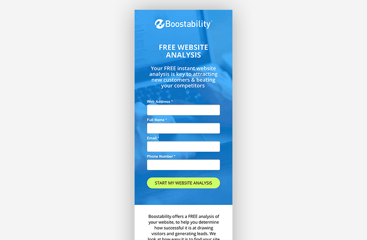 Mobile Landing Page Example: Boostability