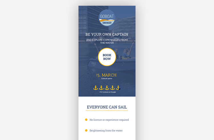 Mobile Landing Page Example: GoBoat