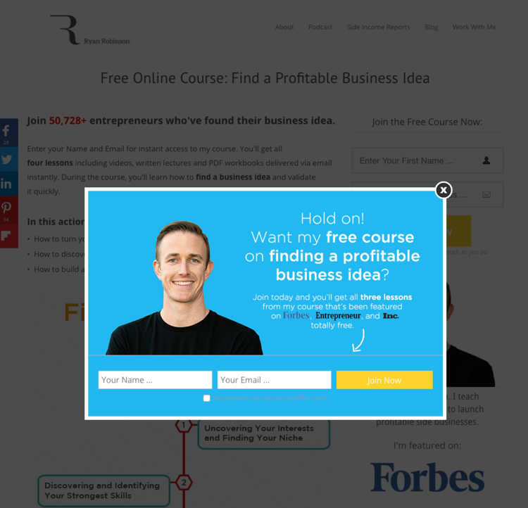 Creative Lead Gen Example Start a Side Project