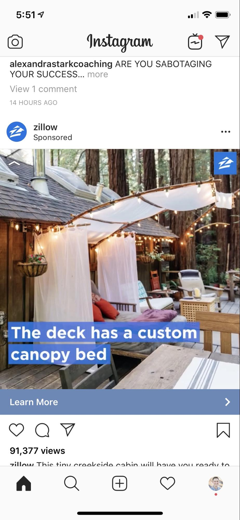 A screenshot of a Zillow ad on Instagram.