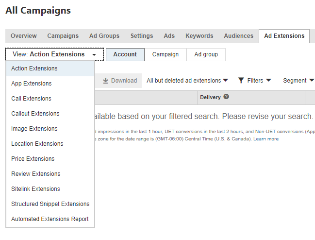 Screenshot of action extensions
