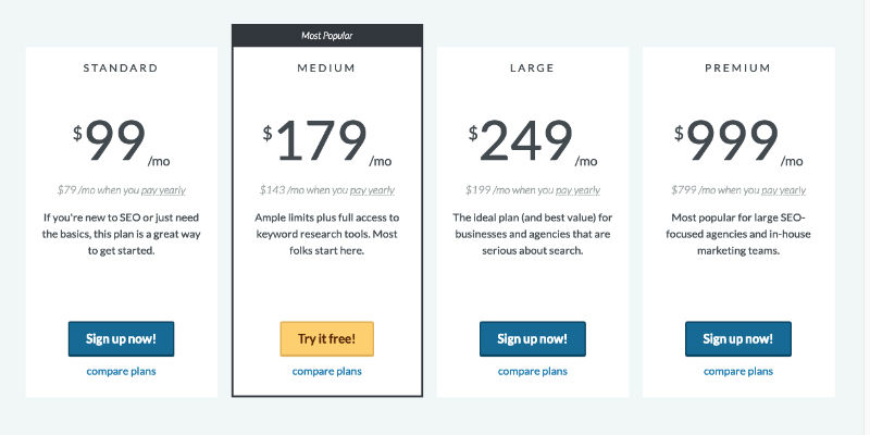 Moz pricing page