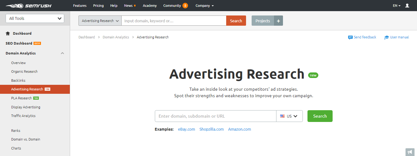 screenshot of SEMrush tool for competitor research